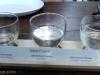 A flight of sake in Chaya's beer garden