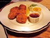 Cornflake eel nuggets with tartar sauce, honey mustard and BBQ sauce