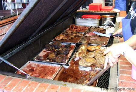 A variety of meats straight from the pit