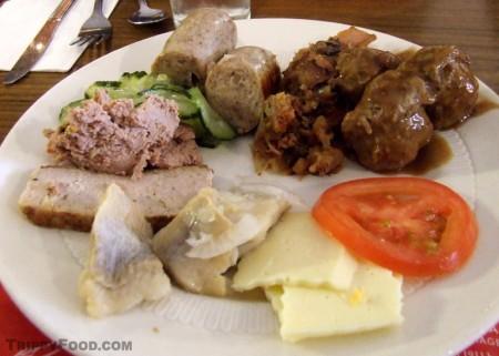 The smörgåsbord at Red Viking Restaurant in Solvang