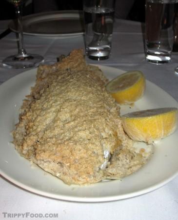 Sea bream entombed in a salt crust