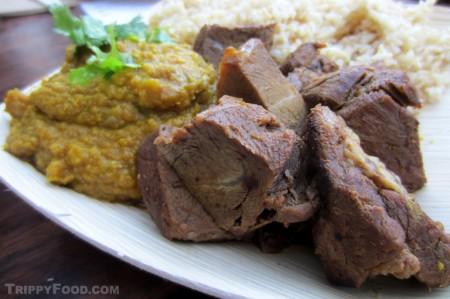 Tender chunks of rogan gosht (curry lamb)