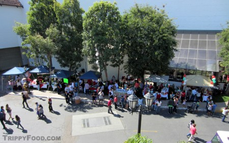 The row of vendors participating in the menudo contest