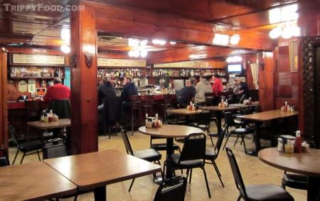 Rutt's Hut's rustic bar area