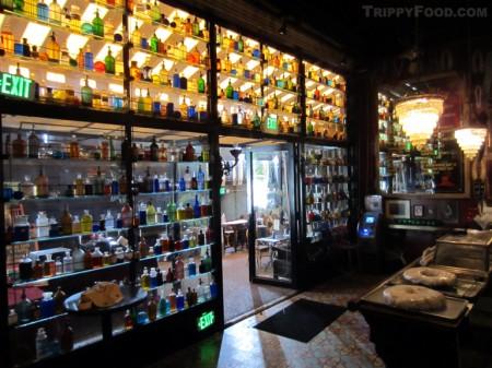 Villains Tavern's antique bottle collection