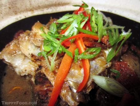 Crispy and moist clay pot sea bass