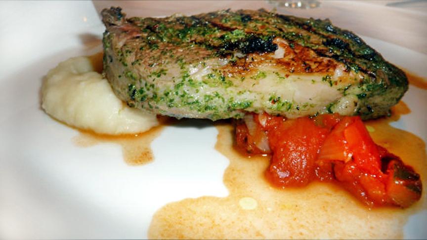 Sous-vide rib-eye steak, grilled with chimichurri marinade
